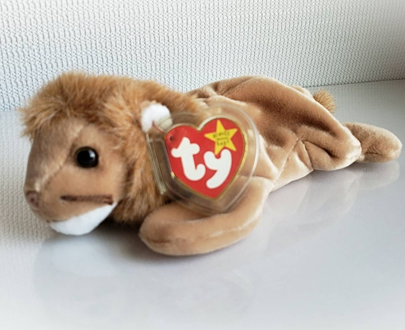 71bda2625d2 Ty Beanie Baby ROARY The Lion White and Brown Plush Toy Rare