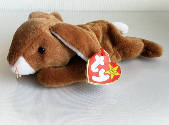 35d839958c9 Ty Beanie Baby EARS The Rabbit Brown and White Plush Toy Rare