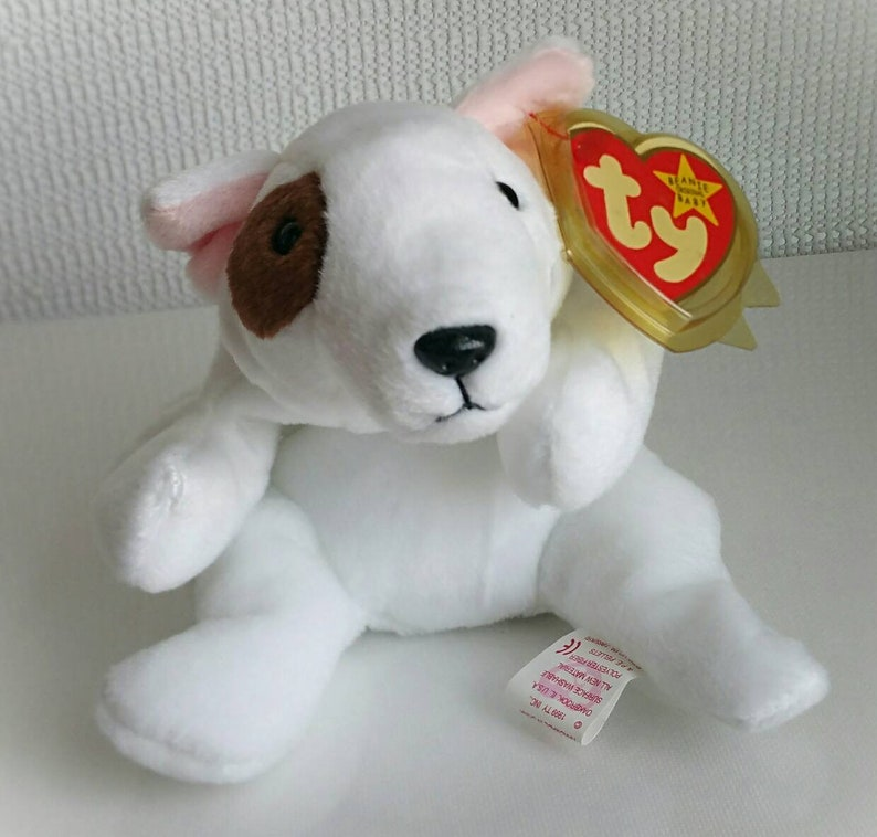 d2cd4970b6d Ty Beanie Baby BUTCH The Dog White and Brown Plush Toy Rare