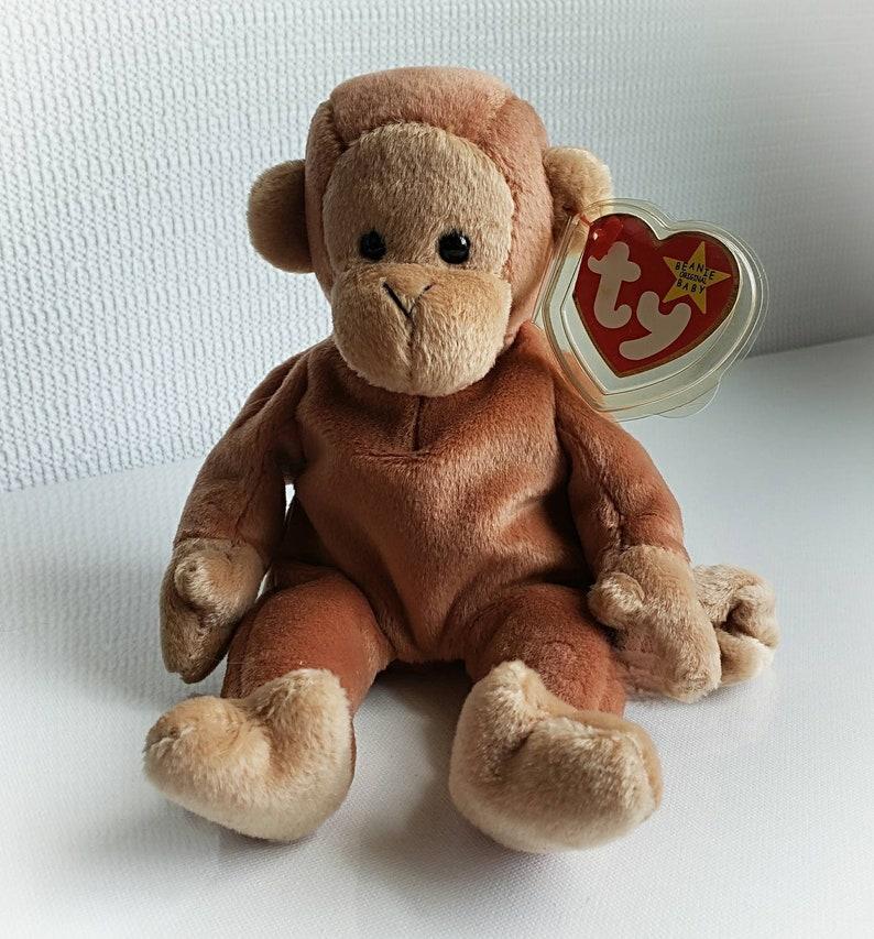 0dfb54f255b Ty Beanie Baby BONGO Retired 1995 Original Monkey Brown Plush