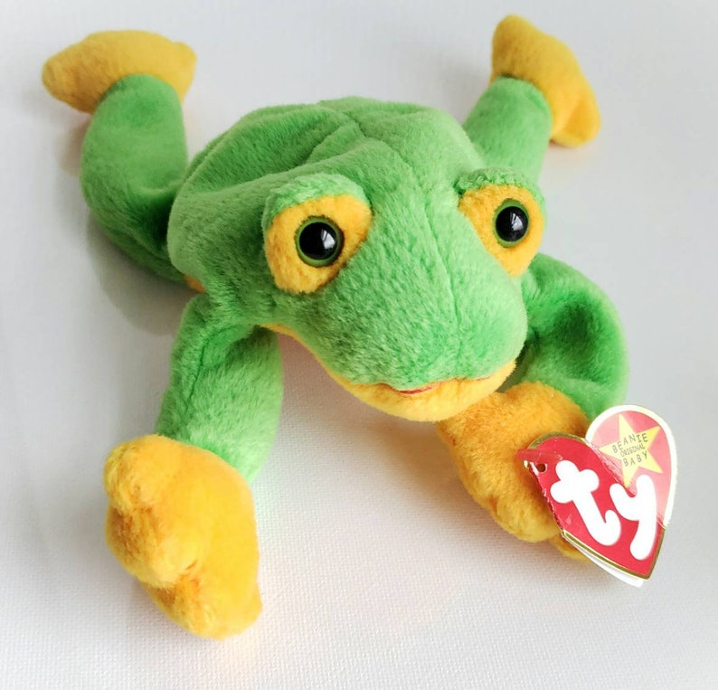 05fcc7e0482 Ty Beanie Baby SMOOCHY The Frog Green and Yellow Plush Toy