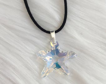 Swarovski Crystal Starfish Faux Suede Necklace