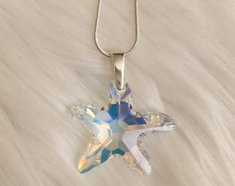 Swarovski Crystal Starfish Sterling Silver Necklace