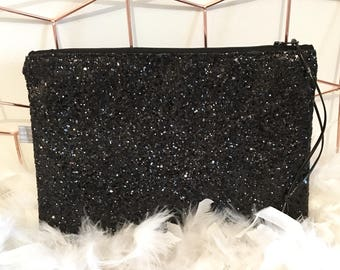 Black sequin evening clutch bag