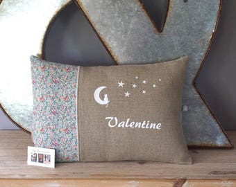 Customizable cushion in natural linen and Liberty of London