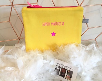 Centerpiece - Personalized clutch yellow and neon pink