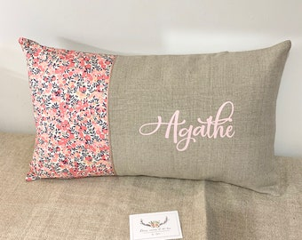 Linear customizable cushion cover and Liberty Wiltshire Scent peas, custom cushion, personalized birth gift