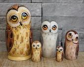 Russian Doll Matryoshka, Matryoshka Owl, Figurine of an Owl, Russian carving, Russian Nesting Doll, Wooden Toy Owl, Russian Folk Souvenir