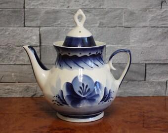 Gzhel Porcelain Coffee Maker 1970s Vintage Porcelain Russian Handmade Vintage Turkish Coffee Pot Soviet Vintage Porcelain USSR