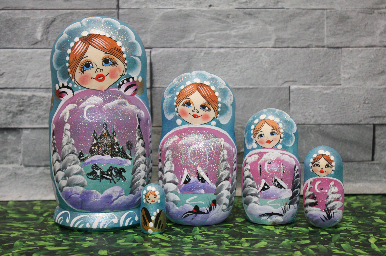 5Pcs Russian Nesting Doll Handpainted Wooden Stacking Toy Matryoshka Set USA