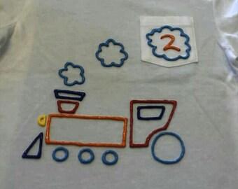 21ae10cb puffy paint train birthday shirt or onesie
