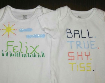 7d0c388e monogrammed puffy paint onesie set for baby