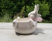White Ceramic Bunny Rabbit 4 quot Size Planter Glaze Belly-Up Pot Container for Houseplants and Succulents