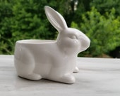 White Ceramic Bunny Rabbit 4 quot Size Planter Glaze Shinny Pot Container for Houseplants and Succulents