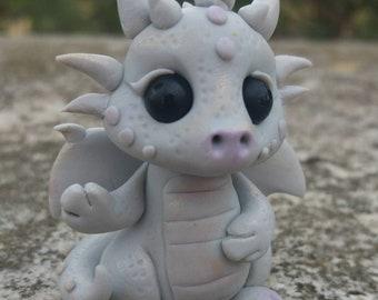 "Ooak Polymer Clay ""Alfie"" Little Rocks Dragon Sculpture"