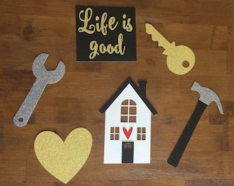 Home Sweet Home Photo Props, 6 Piece Set| Housewarming New House Apartment Condo Fixer Upper Renovating Glitter Centerpieces