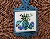 Vintage Ceramic Tile and Metal Pineapple Trivet