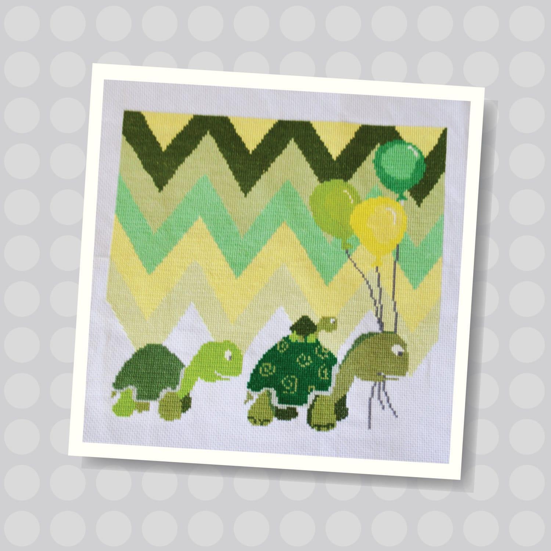 Tortoise Family Baby Tortoise Green Pattern Wall Art | Etsy