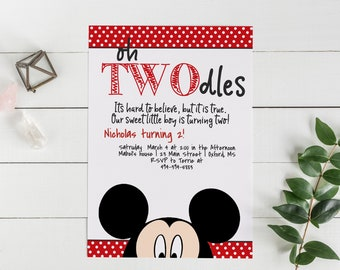 Nicholas Oh Twodles Invitation Mickey Mouse Invite 2nd Birthday