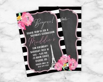 Little Girl Birthday Invitation, Paris, Eiffel Tower, Girl, Birthday Party, Invitation, Any Age, Template, Customized, Party,