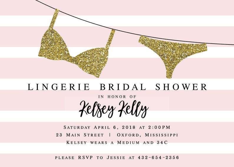 bf2450a72 Kelsey Lingerie Shower Invitation Pink Lingerie Party