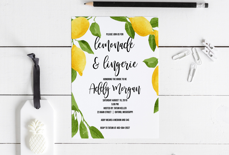 68fcfb3bb Harper Lemonade and Lingerie Bridal Shower Invitation