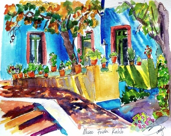 """Original watercolor painting of Museo Casa Frida Kahlo Mexico City, Coyoacan 8x10"""". Created by Liz Vargas"""