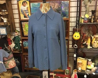 Vintage Cardigan, Dorce, Wool, Long Cardigan, Sweater Coat women, Dusty Blue, button up, cozy comfy sweater, oversized sweater, knitted