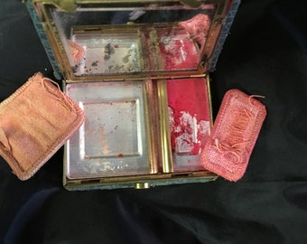 1920s Pendennis Snakeskin, makeup, blush, Vintage Compact. FREE SHIPPING