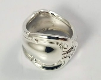 Antique Shell Classic Band Sterling Silver Spoon Ring