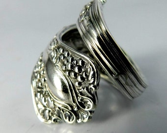 Grape Cluster Spiral Twist Silver Spoon Ring
