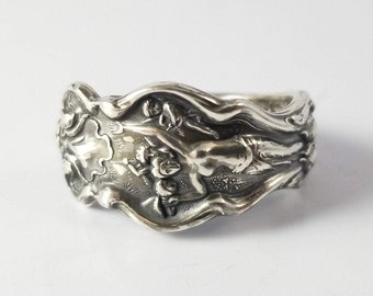 Spoon Ring, Goddess Jewelry, Sterling Silver, Antique Silver Ring, Female Figure, Art Nouveau, LostAndForged, Silver Spoon Ring, Spiritual