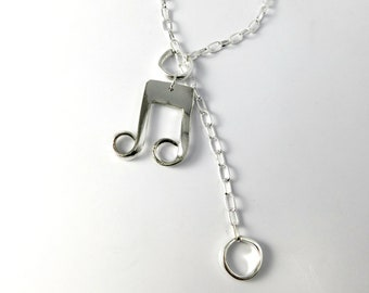 Necklace Gift, Music Festival Boho Necklace, Bohemian Jewelry, Statement Necklace, Lariat Necklace, Silver Necklace, Jewelry Gift, Pendant