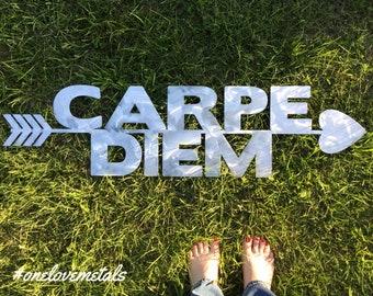 Carpe Diem, Print, Carpe Diem Sign, Carpe Diem Wall Art, Carpe Diem Sign, Dorm Posters, Quote Posters, Wall Prints, Dorm Decor, Metal Art