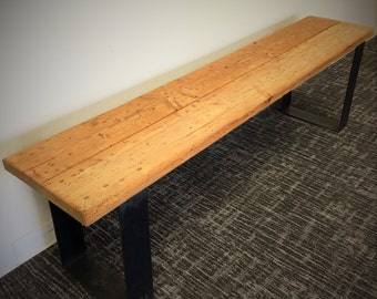 Reclaimed Wood and Steel Bench