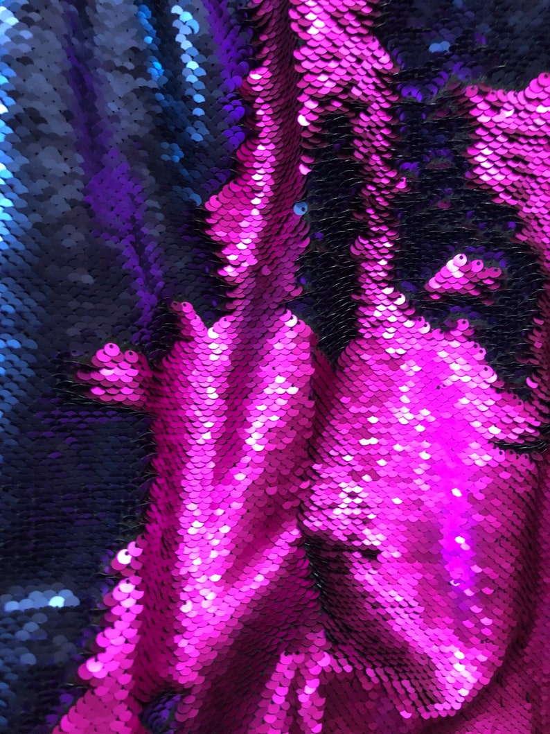 Matte fuchsia Matte Navy  Filp-Up Reversible 5mm Sequins Two Tone Fabric Sold by the Yard- Pillow etc Dress Fabric
