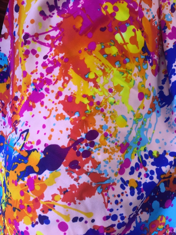 Splatter Paint 4 Way Strech Fabric 60 By The Yard Etsy