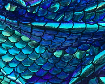 Mermaid Scale Fabric Iridescent Color { Gold/Green/Blue/Purple} on Spandex Fabric sold by Yard - Fish Scales Iridecent [Not Washable]