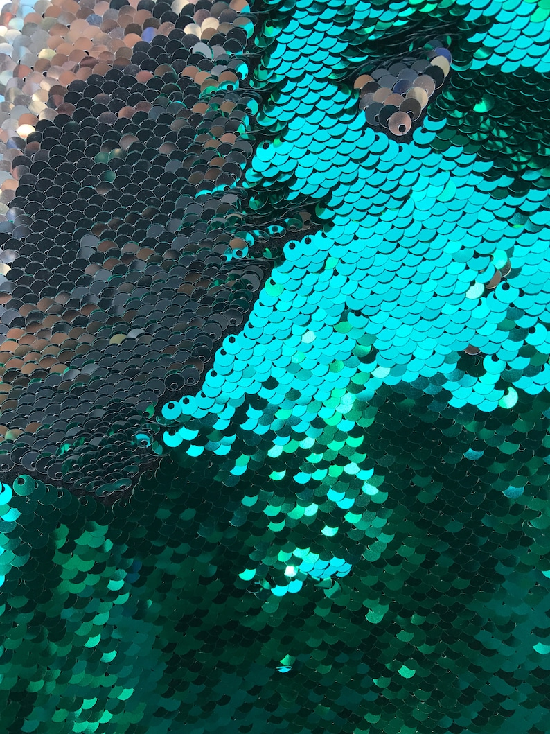 Fabric Dress Shiny GreenSilver FilpUp Reversible 5mm Sequins Two Tone Fabric Sold by the Yard- Pillow etc