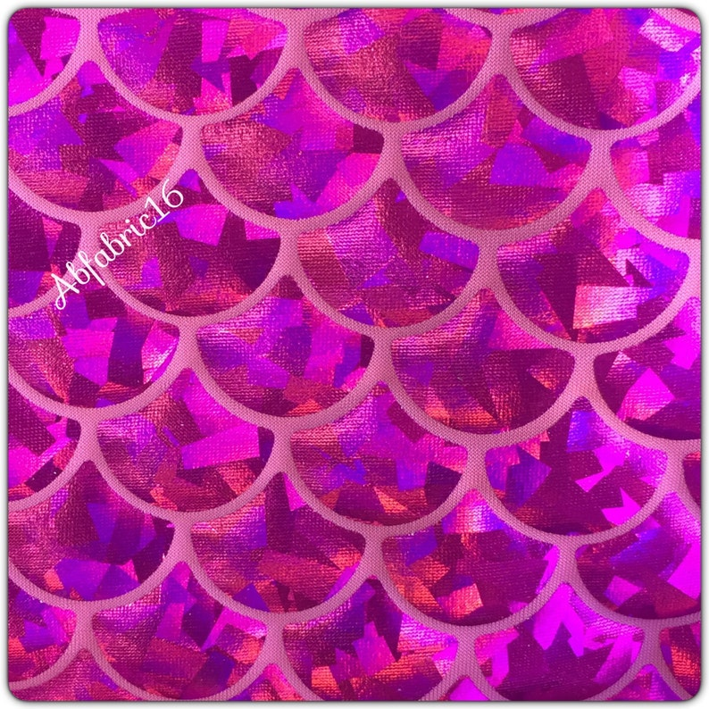 Mermaid Fabric Hologram Fish Scales Stretch Spandex 5860 wide Sold by Yard