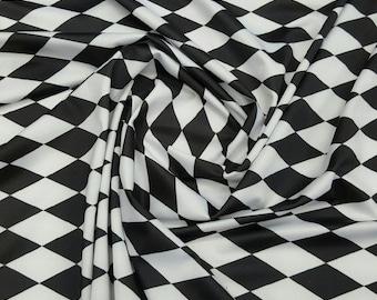 White & Black Harlequin Print Fabric - Diamond Print Fabric Four way Stretch Spandex  Fabric By the Yard