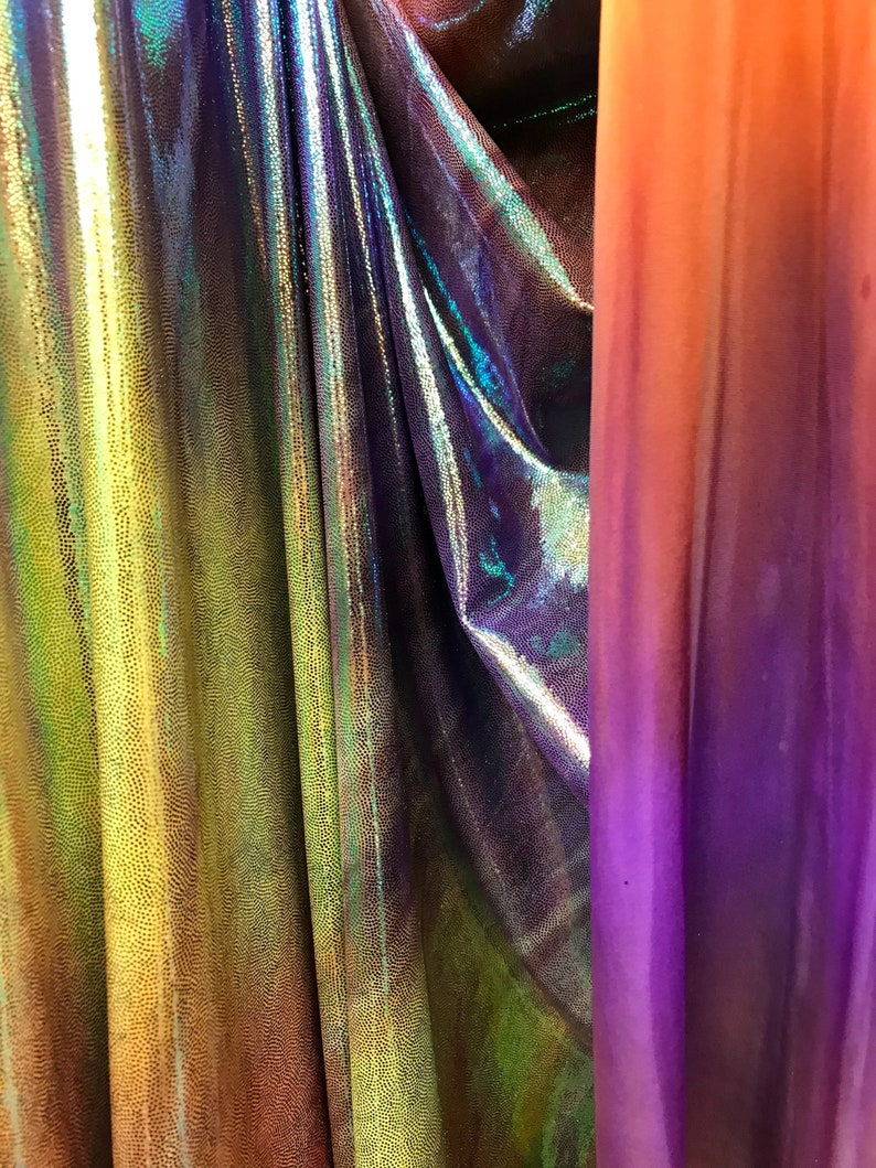 5 Tone Color NEW Poly Spandex Iridescent Tie Dye Pink Purple Orange Green /& Yellow with Metalic Green-Foil Spandex Fabric sold by yard