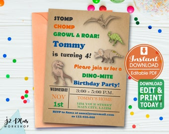 INSTANT DOWNLOAD Birthday Invitation Dinosaur Invitations Printable Party Invites Instant Download DIY Editable Pdf