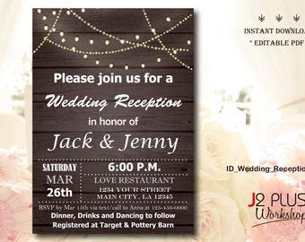 wedding reception invitation etsy