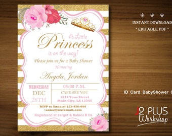 Princess baby shower etsy instant download baby shower invitations printable princess baby shower invitation instant download invites template diy editable pdf filmwisefo