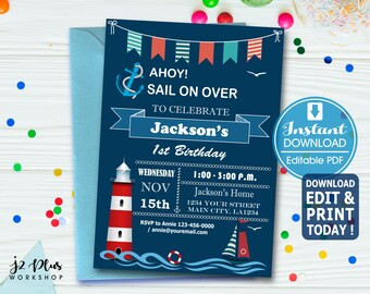 INSTANT DOWNLOAD Birthday Invitation Nautical Invitations Printable Sailing Party Invites Instant Download DIY Editable Pdf