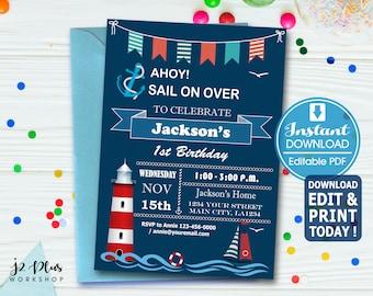 nautical birthday invitation etsy