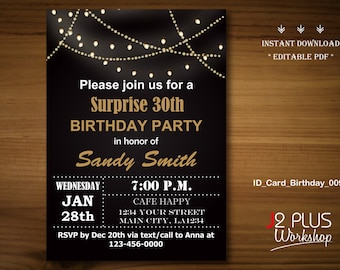 Adult party invitations etsy instant download birthday invitation instant download light bulb adult birthday invitation adult party invites printable diy editable pdf filmwisefo