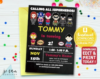 INSTANT DOWNLOAD Superhero Birthday Invitation Avengers Invitations Printable Justice League Party Invites DIY Editable Pdf