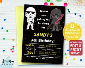 Instant Download Star Wars Birthday Invitation Card Party Invitations Invites